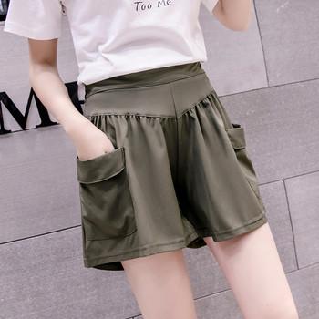 Ежедневни дамски къси панталони с джобове и висока талия