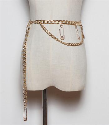 Метален дамски златист колан с висулки