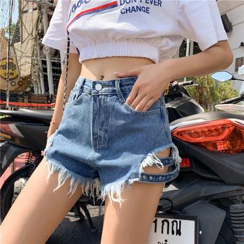 Дамски дънкови къси панталони с висока талия и разкъсани мотиви