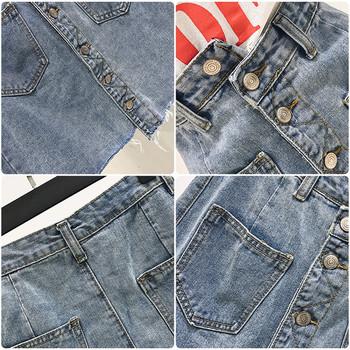 Дамска дънкова пола асиметричен модел и джобове