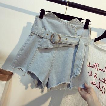 Дънкови дамски къси панталони с колан на талията