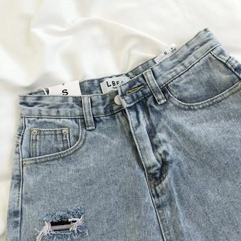 Ретро къси дамски панталони с висока талия и скъсани мотиви