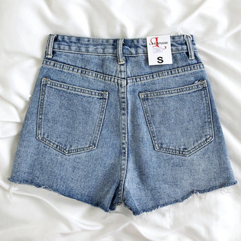 Къс дамски дънков панталон с висока талия