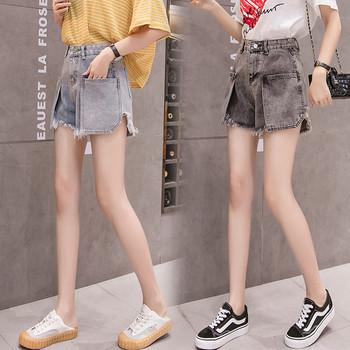 Дамски ежедневни къси панталони с разкъсан десен и джобове