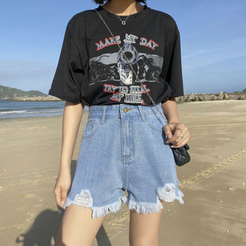 Дамски къси панталони със скъсани мотиви и колан