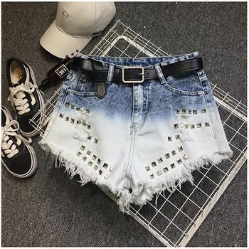 Дамски къси панталони с метални нитове