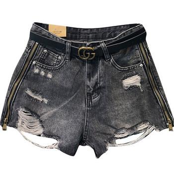Дамски къси дънкови панталони с цип и колан