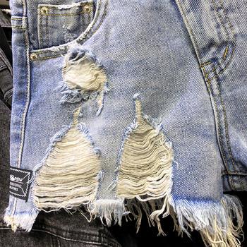 Ново Модерни дамски къси панталони с разкъсани мотиви