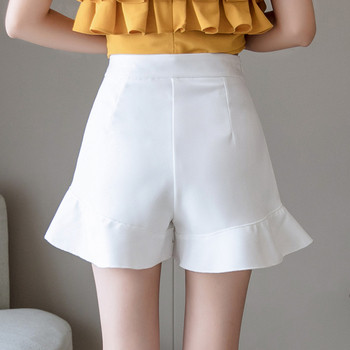 Ежедневни къси дамски панталони разкроен модел с висока талия