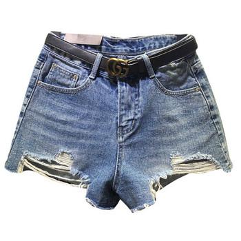 Нов модел дамски къси дънки с разкъсани мотиви  и висока талия