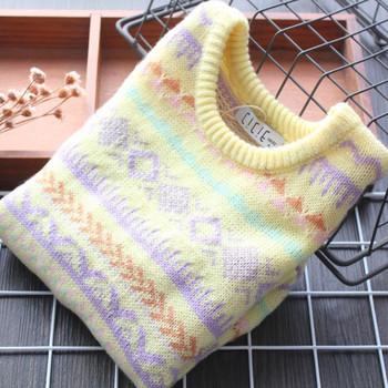 Ежедневен детски пуловер с шарка и овално деколте за момичета
