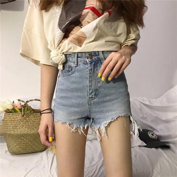 Дамски дънкови панталони с висока талия и скъсани мотиви