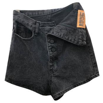 Дамски ежедневни къси панталони с висока талия в черен цвят