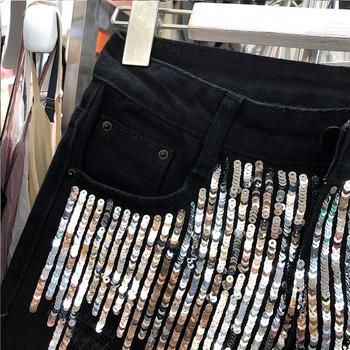 Нов модел дамски къси панталони с елемент -пайети
