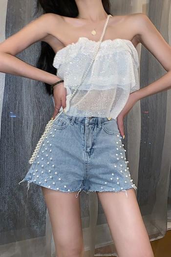 Къси дънкови панталони с висока талия и перли