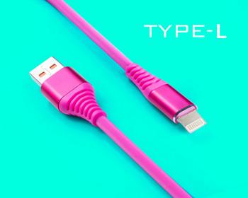Бързозареждащ силиконов data кабел Type Lightning в розов цвят