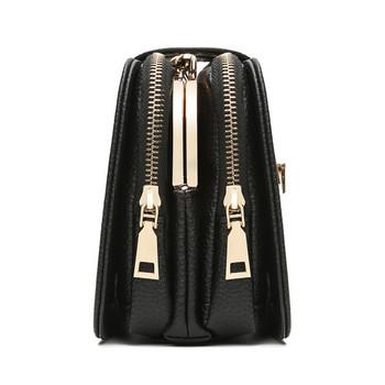Малка черна дамска в черен цвят с бродерия пеперуди и метална дръжка