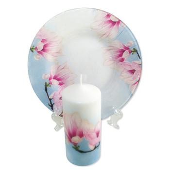 Свещ с чиния Орхидея