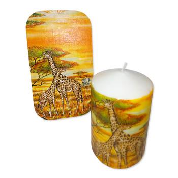 Свещ с подложка Жирафи