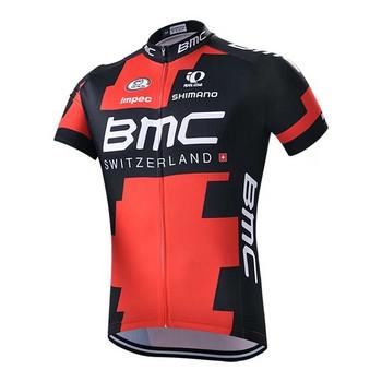 Мъжки спортни екипи за колоездене BMC - червено-черен модел без презрамки