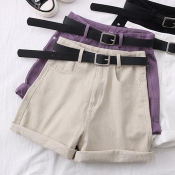 Модерни дамски къси панталони с колан - висока талия