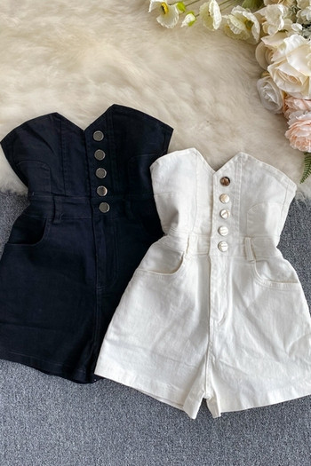 Дамски ежедневни къси панталони с копчета и висока талия