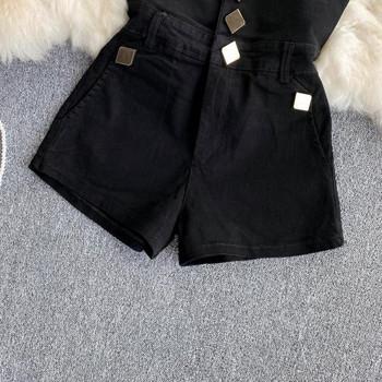 Къси дамски панталони  с висока талия в черен цвят