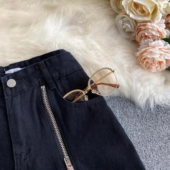 Ежедневни дамски къси панталони с висока талия и цип