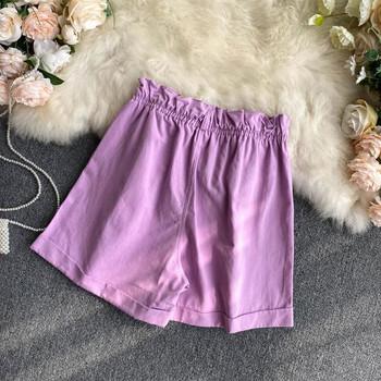 Ежедневни дамски къси панталони с висока талия  и джобове