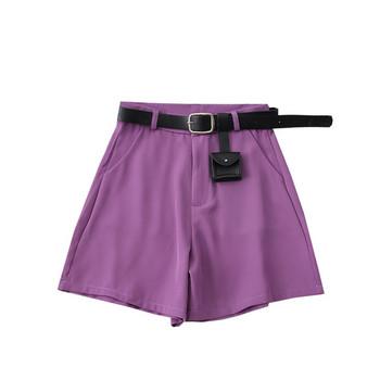 Нов модел къси дамски панталони с колан - висока талия