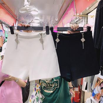 Модерни дамски къси панталони с цип и камъни - висока талия