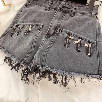 Дамски къси дънки с декорация цип - висока талия