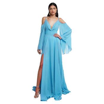 Casual γυναικείο μακρύ φόρεμα με βαθιά λαιμόκοψη και φαρδιά μανίκια