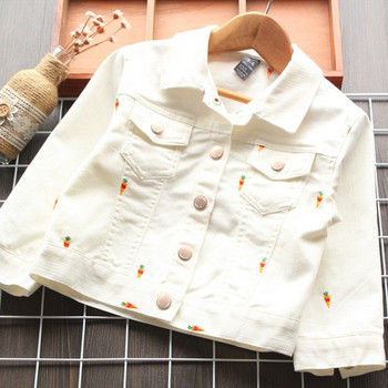 Модерно детско дънково яке за момичета с бродерия и джобове