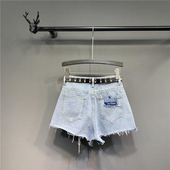 Нов модел къси дамски дънкови панталони с висока талия