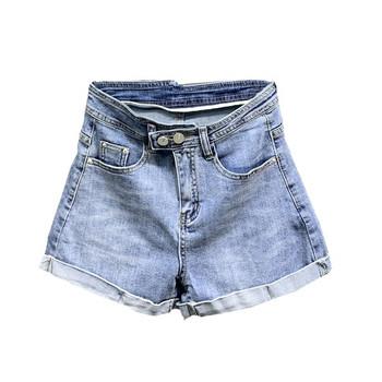 Модерни дънкови къси панталони с висока талия в син цвят