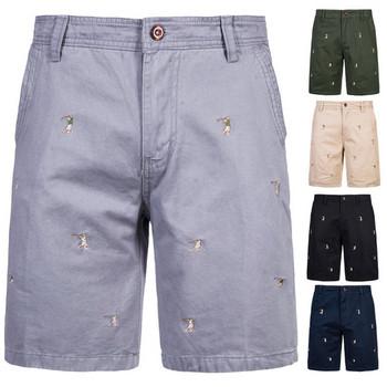 Мъжки къси дънкови панталони с бродерия
