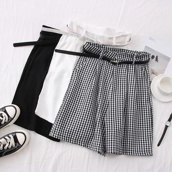 Ежедневни дамски карирани панталони с висока талия и колан