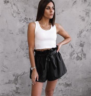 Дамски ежедневни къси панталони с висока талия и връзки