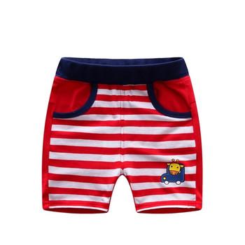 Детски ежедневни къси раирани панталони за момчета с апликация