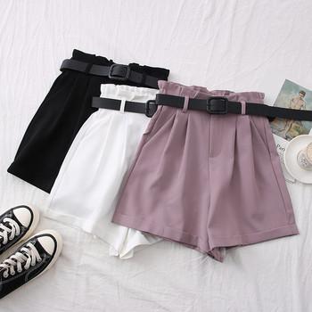 Модерни къси дамски панталони с висока талия и колан
