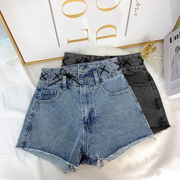 Къси дамски дънкови панталони с висока талия и кръстосани връзки