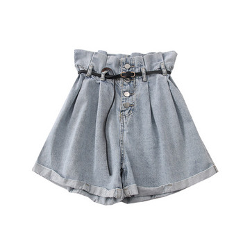 Дамски къси дънкови панталони с висока талия и колан