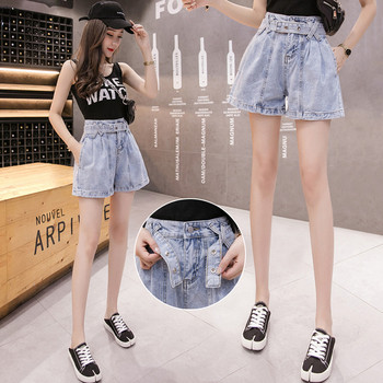Ежедневни дамски къси дънки с колан и висока талия
