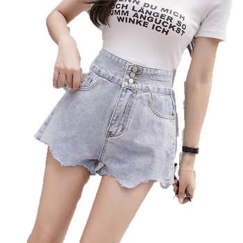 Дамски къси дънки с висока талия и джобове
