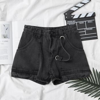 Дамски ежедневни къси панталони с джобове и висока талия