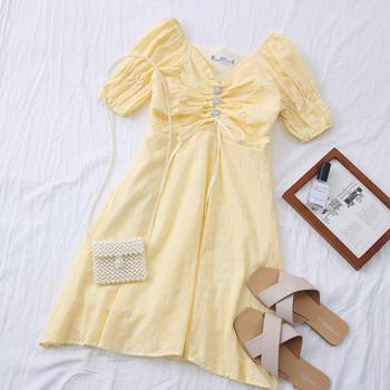 Ежедневна дамска рокля с шпиц деколте - разкроен модел
