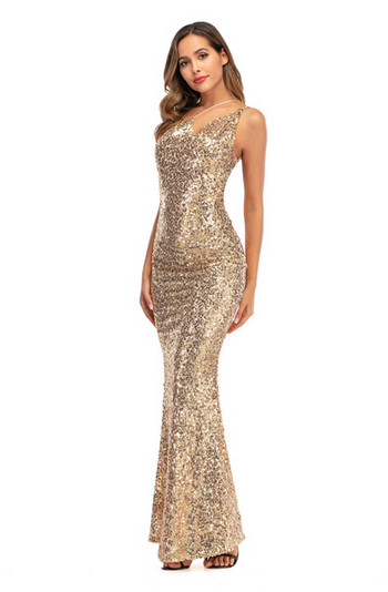 НОВ модел дамска дълга стилна рокля с гол гръб и пайети