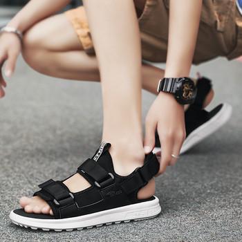 Модерни мъжки сандали в черен цвят с равна подметка