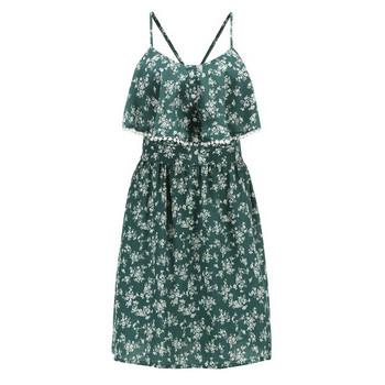 Ежедневна  дамска къса рокля с тънки презрамки и флорален десен
